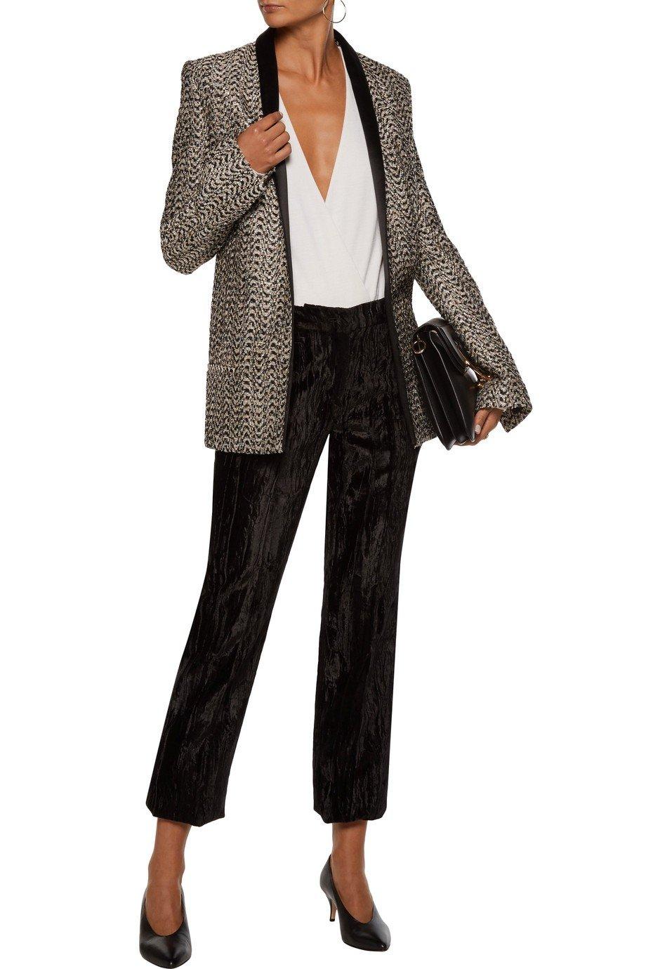 женский серый удлиненный пиджак 2018