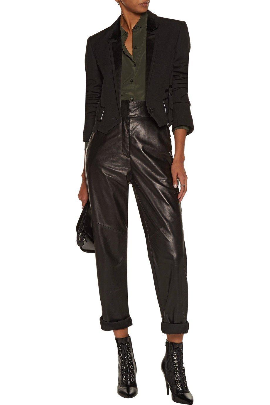 женский черный укороченный пиджак 2018