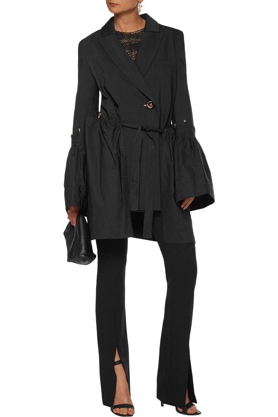 черный удлиненный пиджак пеплум женский 2018