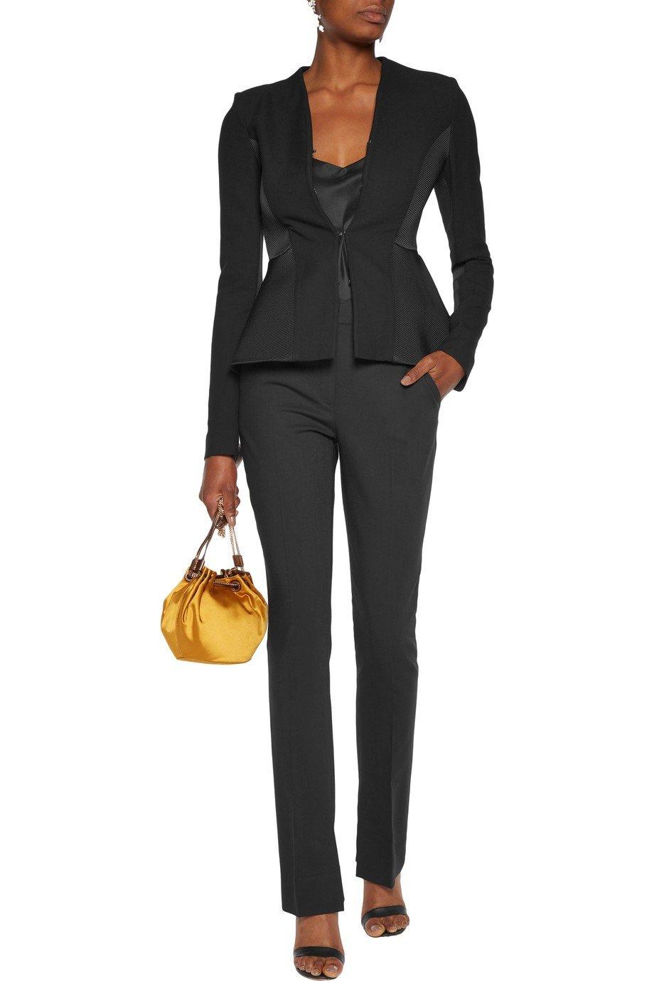 модный черный укороченный пиджак для женщины 2018