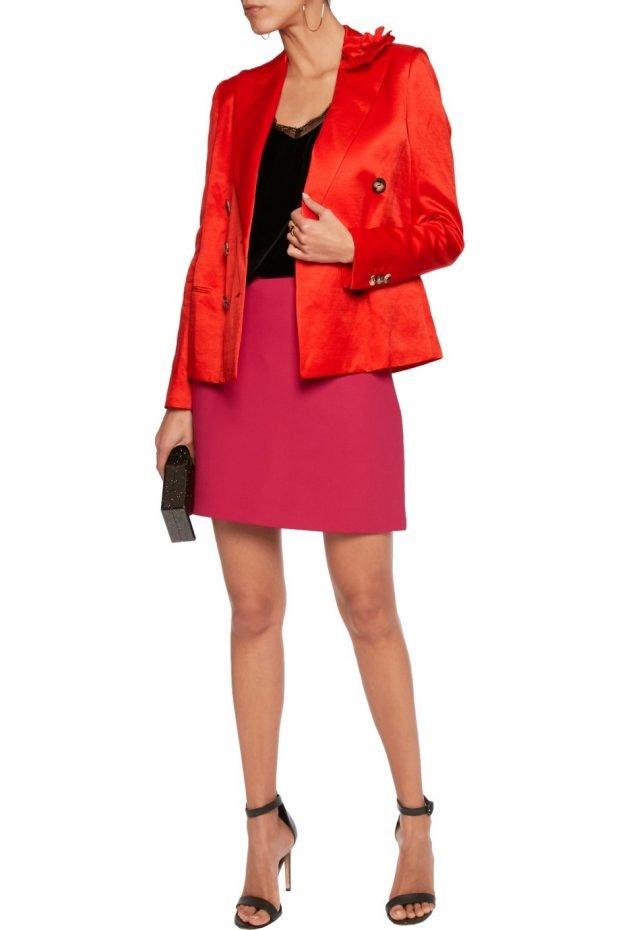 модные женские пиджаки 2020: оранжевый атласный