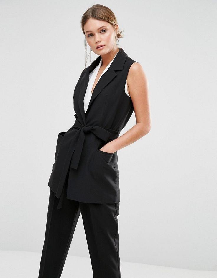модный черный пиджак женский без рукавов 2018