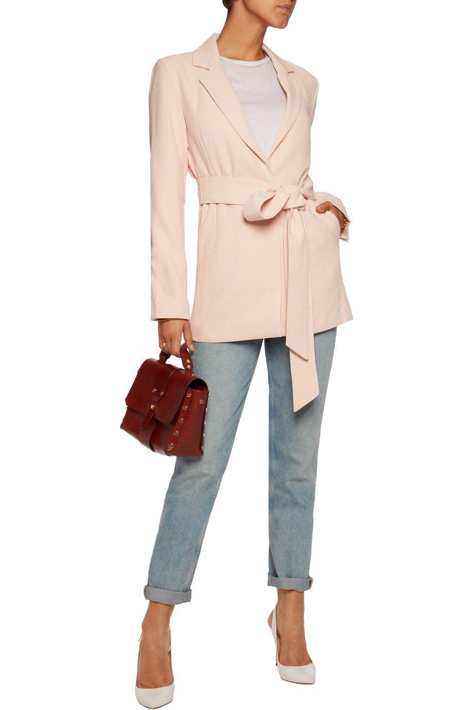 светло-розовый пиджак под пояс женский 2018