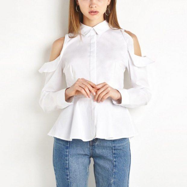 модная женская рубашка 2018 белая фото тенденции