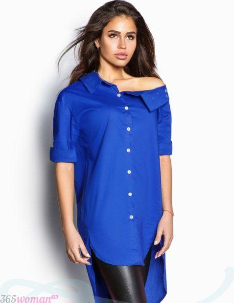 модные женские рубашки синяя свободного кроя