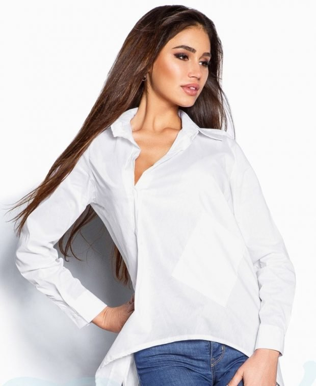 модные женские рубашки белые свободного кроя