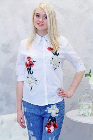 модные женские рубашки белые с принтом
