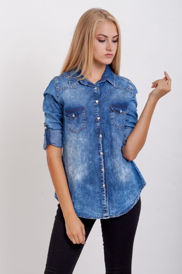 джинсовая короткий рукав