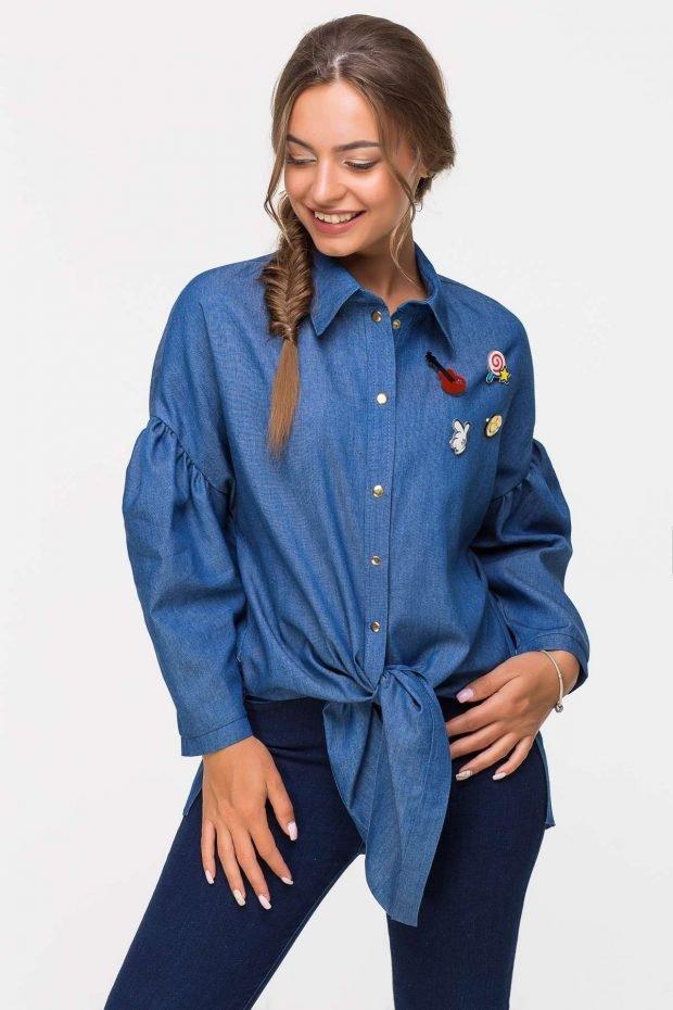 синяя удлиненная с вышивкой