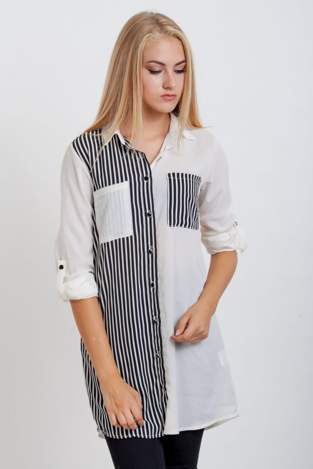 модные женские рубашки 2018 2019 белая черная полоска фото модные тенденции