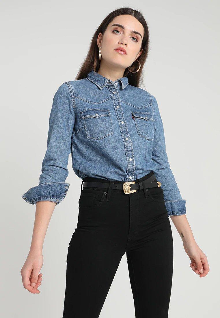 afa51ded47e Стильные женские рубашки 2019 2020 года  джинсовая