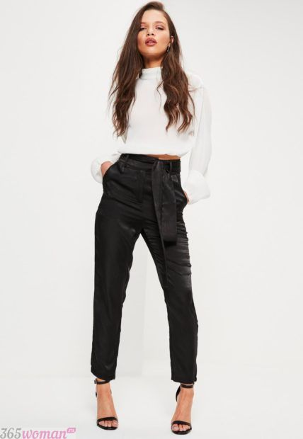 укороченные брюки с завышенной талией