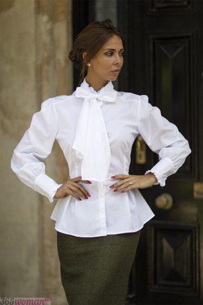 белая блуза с бантом с длинным рукавом