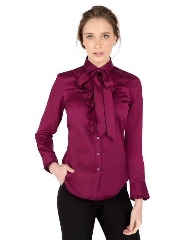 бордовая блуза с бантом и рюшами
