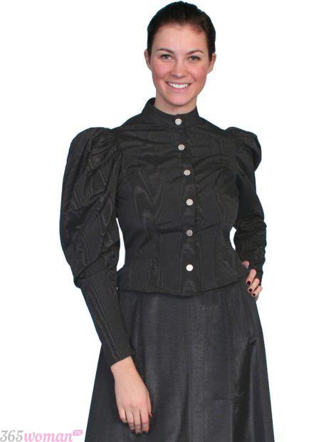 черная блуза с длинным рукавом в стиле ретро