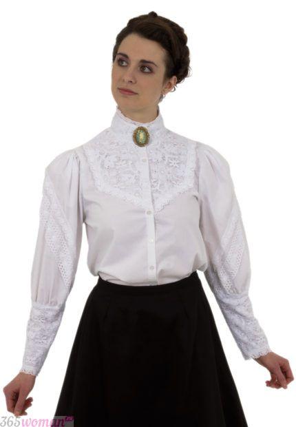белая ретро блуза с длинным рукавом