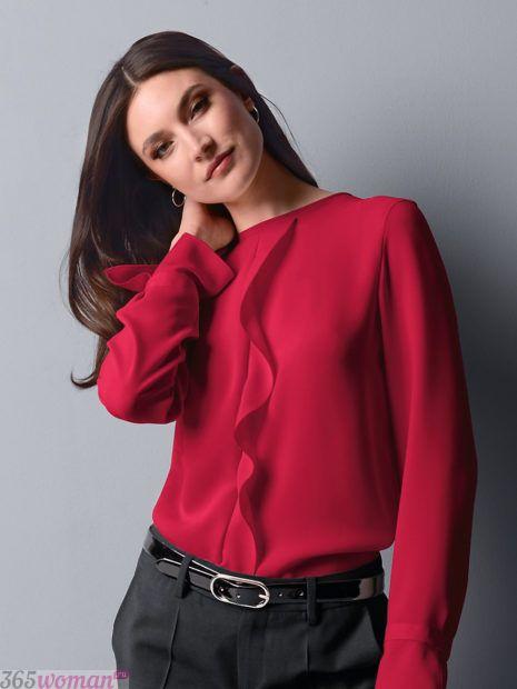блуза с динным рукавом в красном оттенке