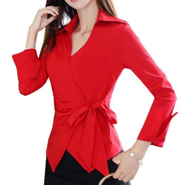 красная блуза под пояс