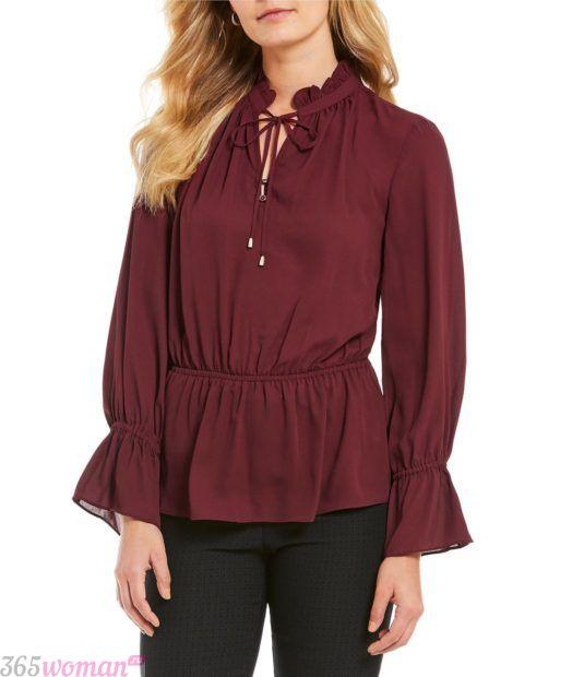 бордовая блузка со сборками