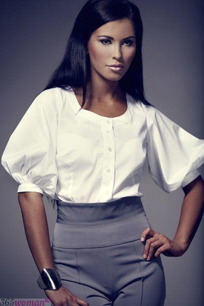 белая блуза с короткими объемными рукавами