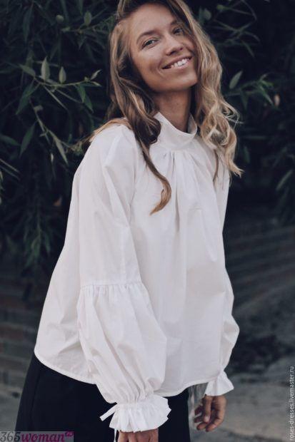 белая блуза с объемными рукавами