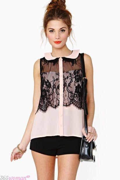 блузка с воротником с кружевными вставками