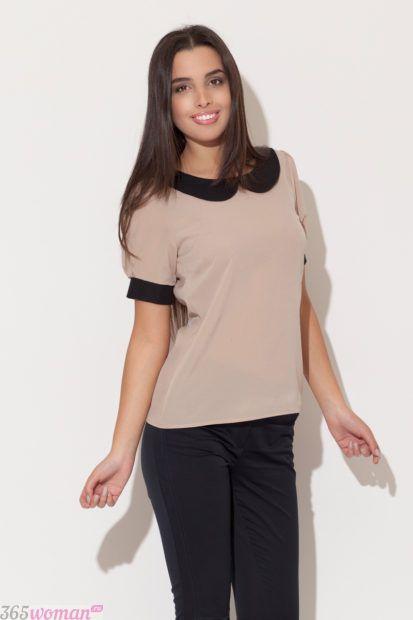блузка с воротником в пастельных тонах