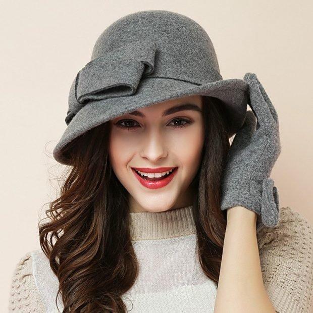 серая шляпка с бантом