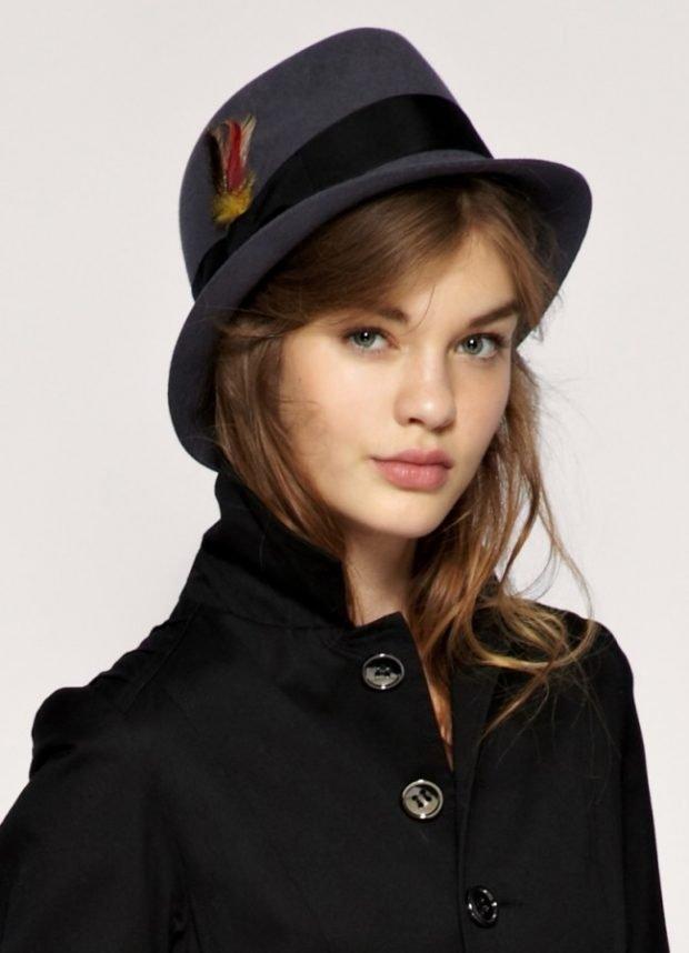 шляпа федора серого цвета с лентой