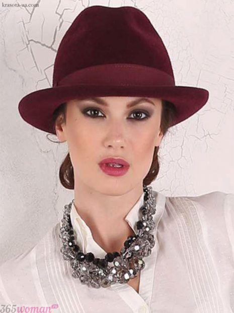 бордовая шляпа федора