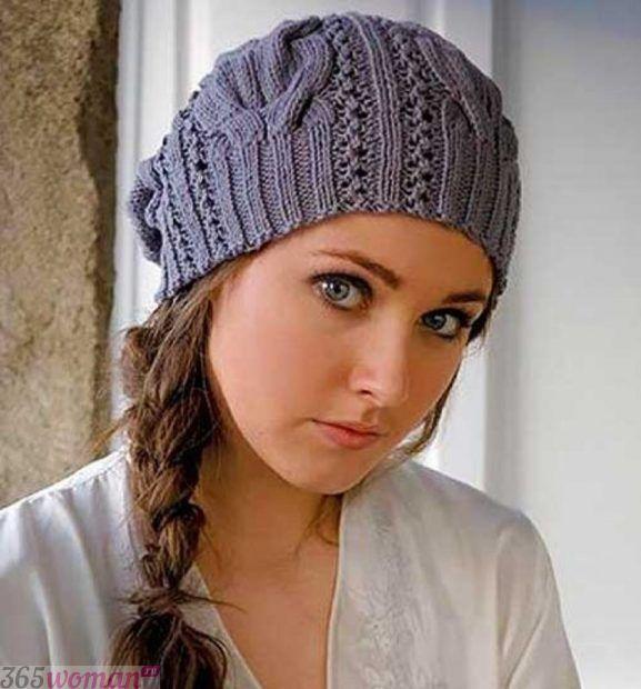 серая вязанная шапка