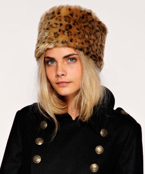 меховая шапка леопардовый принт