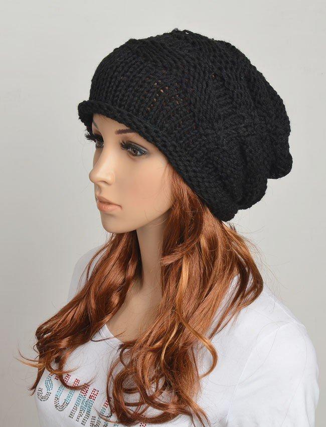 черная объемная шапка бини