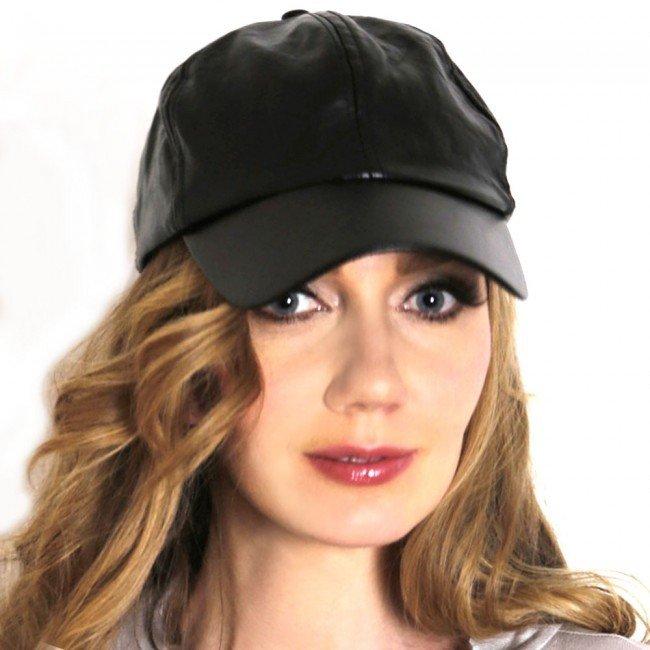 черная кожаная женская кепка