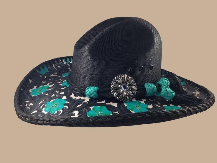 черная кожаная ковбойская шляпа с декором