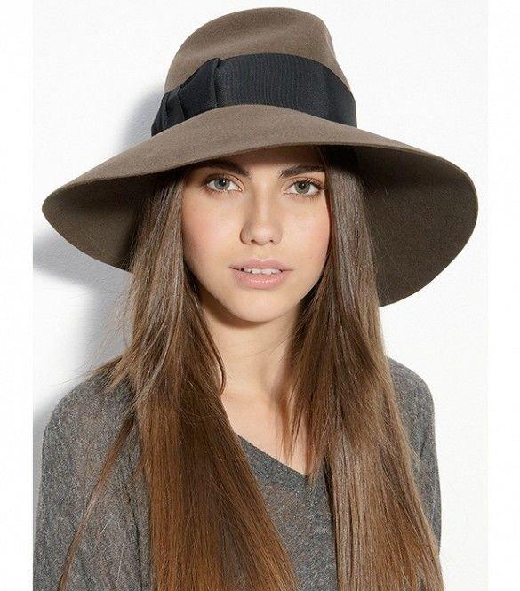 коричневая широкополая шляпа с лентой