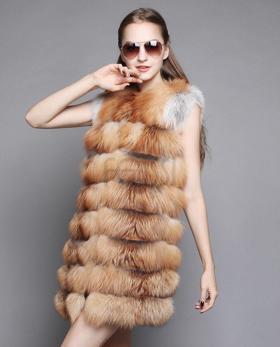 с чем носить жилет из меха лисы по колено