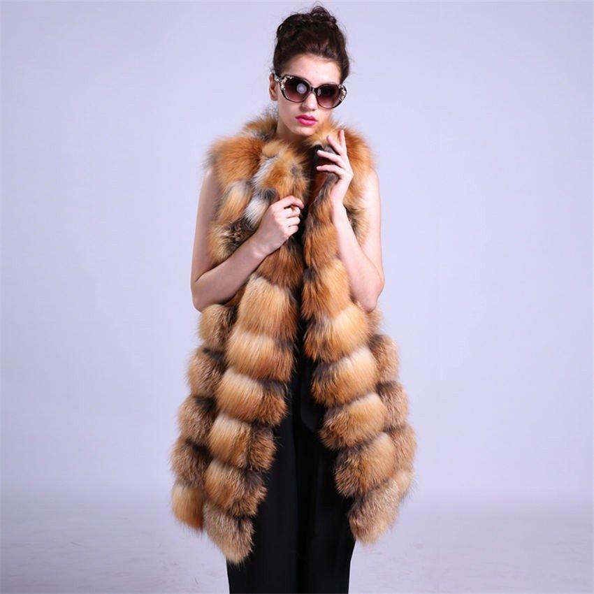 с чем носить удлиненный жилет из меха лисы