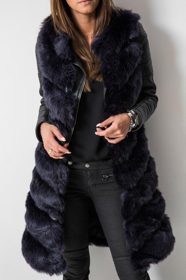 с чем носить длинный черный меховой жилет