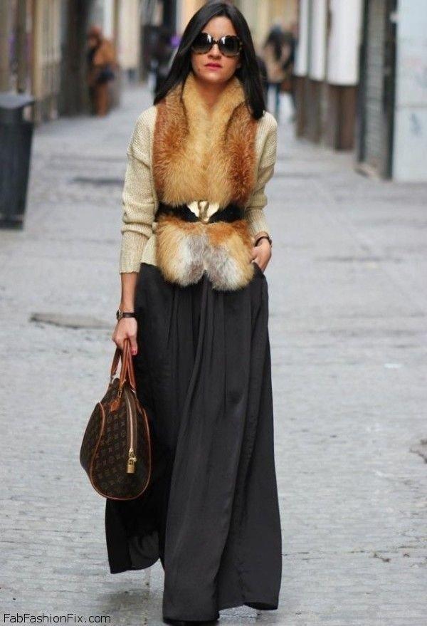 с чем носить короткий меховой жилет из лисы
