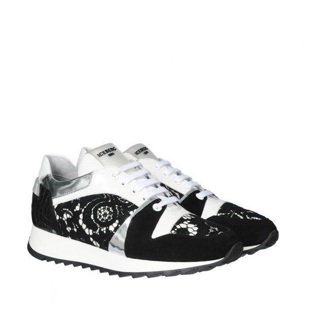 черно-белые кроссовки с кружевом
