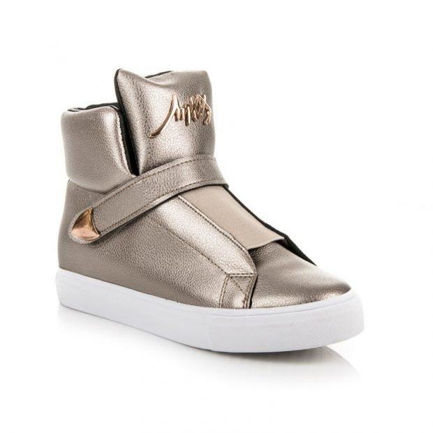золотистые высокие кроссовки