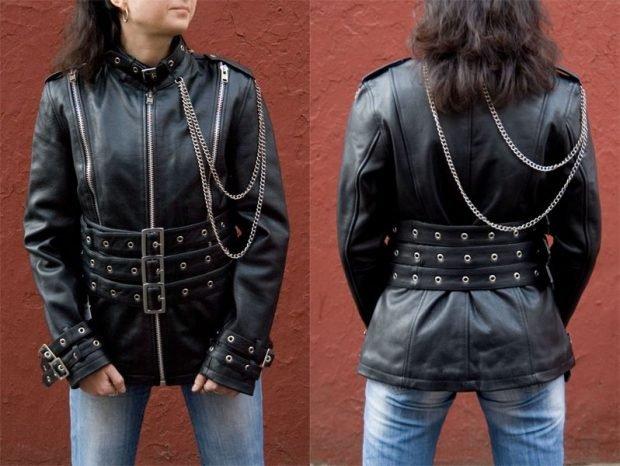 куртка косуха с цепями в бунтарском стиле