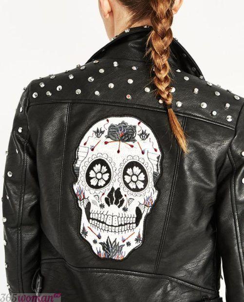 куртка косуха с декором на спине