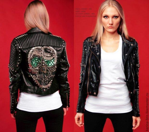 куртка косуха с аппликацией на спине