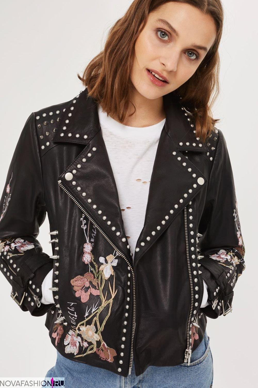 куртка косуха с металлическим декором и вышивкой