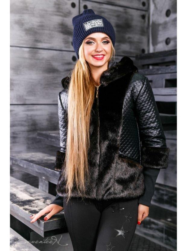 черная куртка косуха с мехом