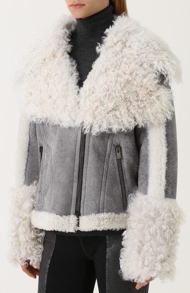 серая замшевая куртка косуха с мехом