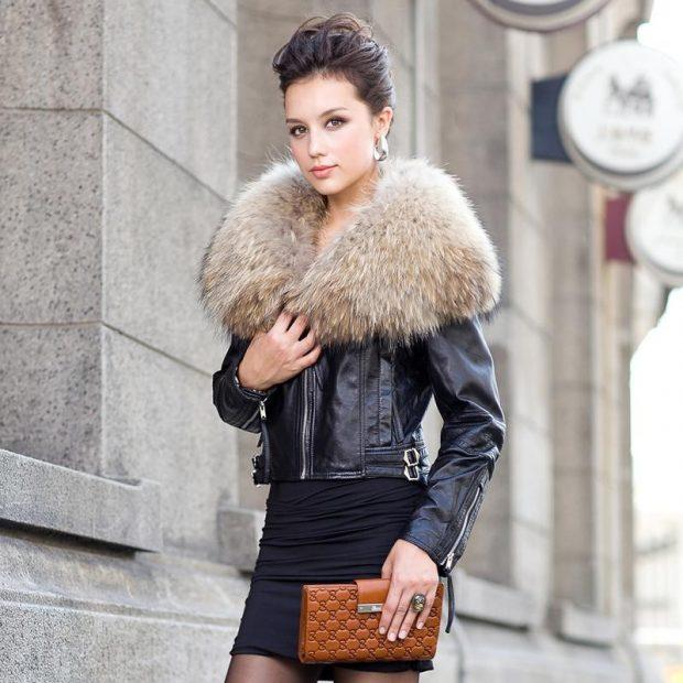 черная куртка косуха с мехом с большим меховым воротником