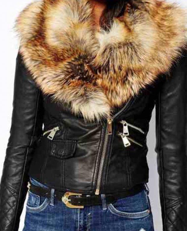 черная куртка косуха с воротником из меха